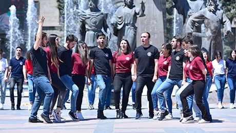 FLASHMOB IN GYUMRI VARDANANTS SQUARE: SERIES OF EVENTS DEDICATED TO YSU 100TH ANNIVERSARY ARE STARTED